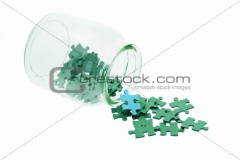 Blue among all green jigsaw puzzles