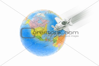 Aircraft and globe