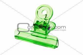 Green bulldog clip