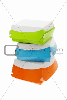 Three colorful takeaway paper boxes