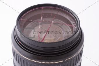 Broken UV lens filter