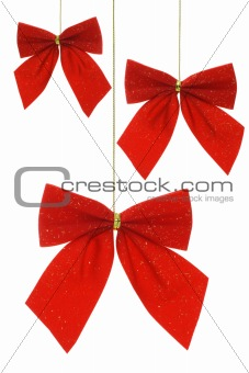 Christmas bow ribbon ornaments