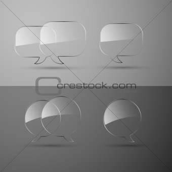 Set of realistic glass speech bubbles