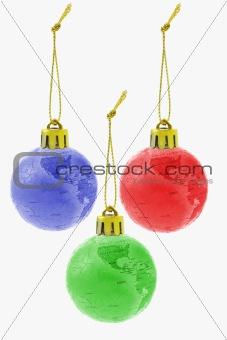 Three Christmas colorful globe ornaments