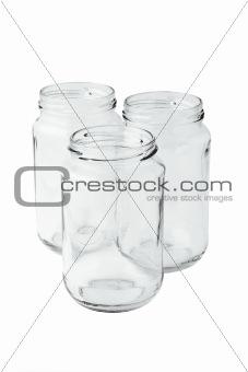 Three empty glass jars