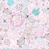 Flower texture with butterflies