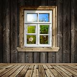 wooden interior with window