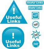 Useful Links button web glass icon
