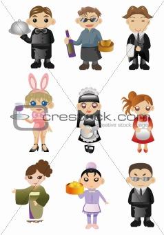 cartoon waiter and waitress icon