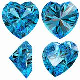 Blue heart diamond cut gem isolated