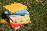 Stack of the books laying on the grass