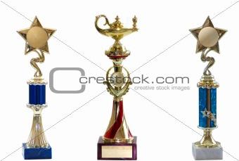three awards isolated on white background