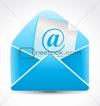 abstract blue shiny mail icon