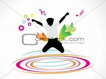 abstract colorful circle wave with jumping boy