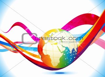 abstract colorful background with globe