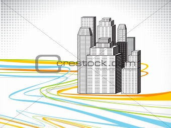 abstract rainbow line wave with building