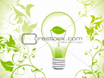 abstract eco green bulb icon