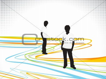 abstract colorful line wave with silhouette