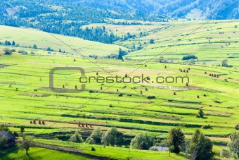 Small summer mountain village outskirts