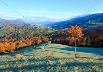 Autumn misty morning mountain valley