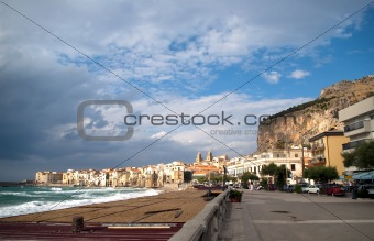 Cefalu, Sicily island in Italy. In the background: huge rock, La