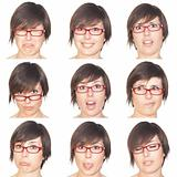 Beautiful Young Woman Collection of Expressions