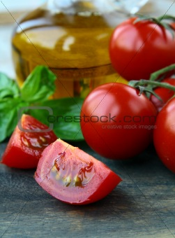 Tomatoes Cherry fresh ripe whole and sliced