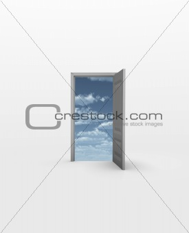 Door opens to Sky in white