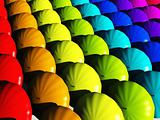 Umbrellas in rainbow hues