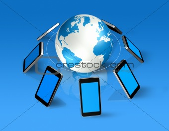 3D mobile phones around a world globe