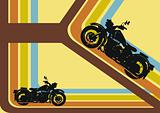 Retro background with motor cycles