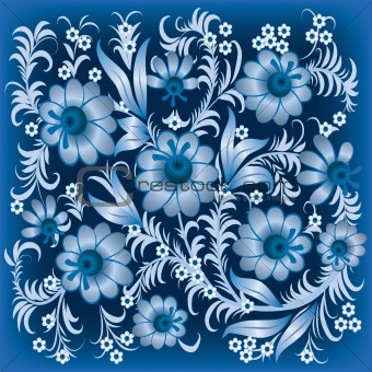 abstract floral ornament with flowers