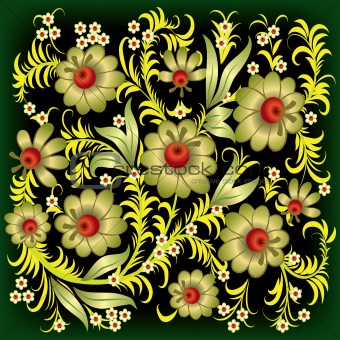 abstract floral ornament with gold flowers
