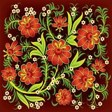 abstract floral ornament with red flowers