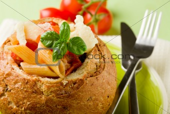 Bread stuffed with pasta