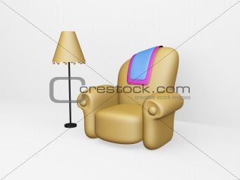 toon sofa and floor lamp
