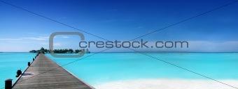 Footbridge to a tropical island