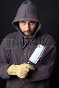 scary man with cleaver