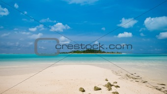 Beautiful Beach with a view to a tropical island