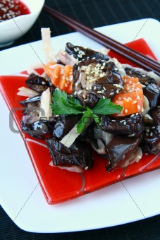 Asian vegetable eggplant salad  on a traditional dish