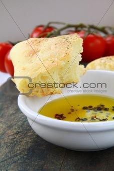 slice of italian focaccia bread with olive  oil
