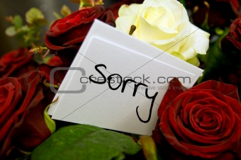 bouquet of roses with apology card