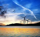 Seascape with wind turbines