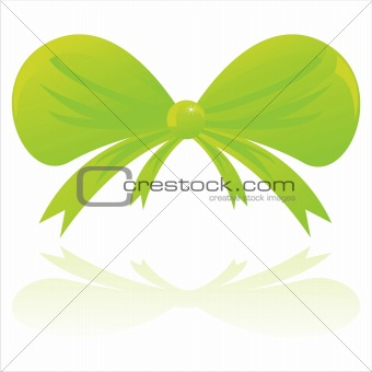 green bow isolated on white
