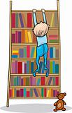 baby boy climbing on bookcase
