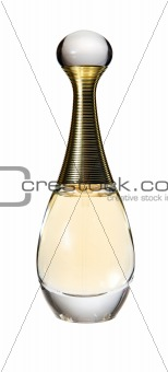 A perfume bottle on the white