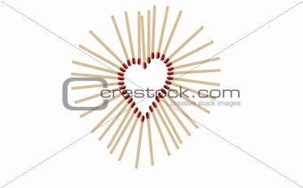 matchsticks in a row shows a heart-shape