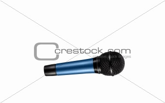 blue microphone with black wire isolated on white