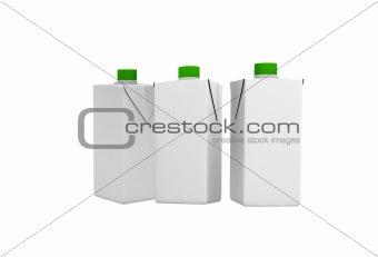 three blank bottles
