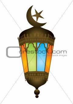 Old style arabic lamp with moon crescent - vector illustration